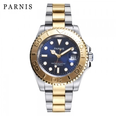 41mm Parnis Miyota Automatic Movement Date Men Boy Watch Gold Stainless Bracelet