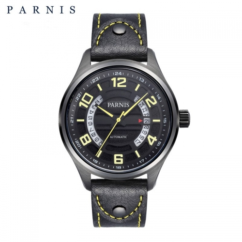 Parnis Sapphire Japan Automatic Men Mechanical Watch Hollow Dial Luminous Marker