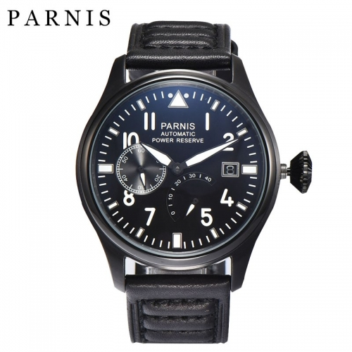 47mm Parnis Power Reserve Automatic Men Casual Watch Small Second Christmas Gift