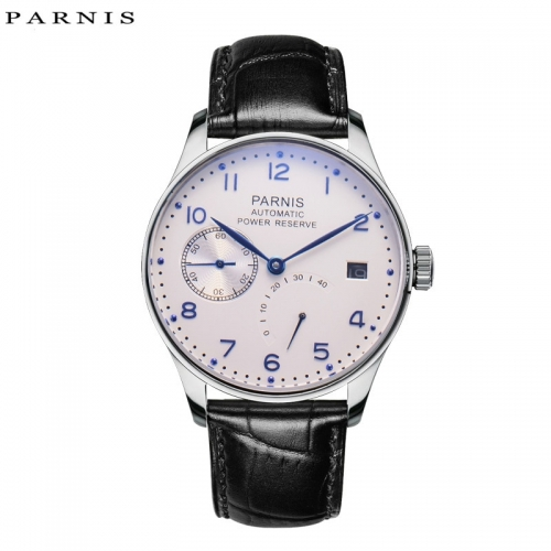 43mm Parnis Power Reserve Automatic Movement Men's Mechanical Watch Small Second