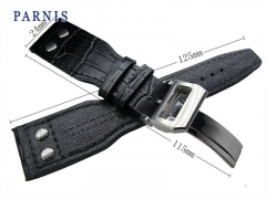 24mm Black Genuine Leather Watchband Parnis New Watch Strap Deployment Buckle, Watch Accessories Leather Watchbands for Watch