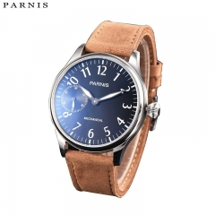 44mm Parnis Hand Winding Mens Classic Watch Brown Leather Strap Best BF Gift