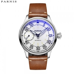 44mm Parnis Hand Winding Men's Mechanical Pilot Watch Luminous No. Small Second