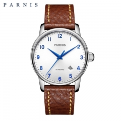 38mm Parnis Miyota 821A Automatic Men Casual Watch Sapphire Glass Date Indicator