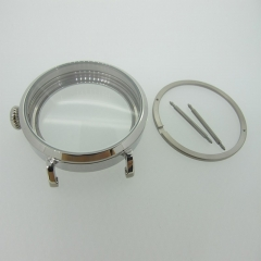 46mm Silver Polished PVD Stainless Steel Watch Case fit 6498 6497 Movement,Watch Part Case with Mineral Crystal Glass