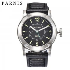 44mm Parnis Automatic GMT Men Watch Sapphire Crystal Luminous Marker Date Show