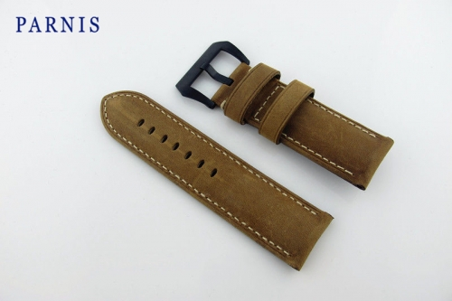 26mm Men's Watch Strap Watchbands Parnis Brand Watch Accessories Scrub Genuine Leather Strap with Black PVD Buckle