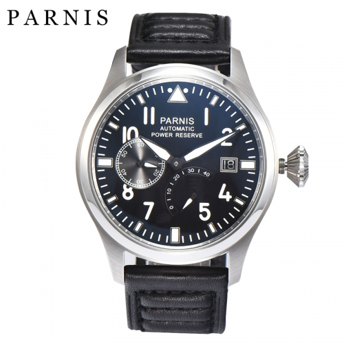 Parnis 47mm Automatic Watch Power Reserve Day Date Big Pilot Watch Man Luxury Wristwatch