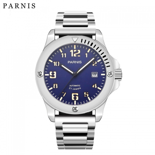 44mm Parnis Japan Automatic Movement Men's Watch Sapphire Crystal Luminous Marker