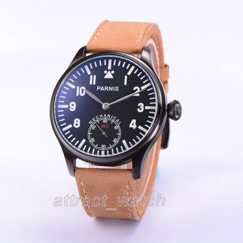 Parnis Mechanical Watch Men Hand Winding Black Case Pilot Military Clock Wrist Watch