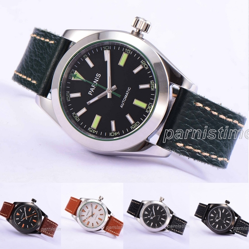 40mm Parnis Miyota Automatic Men's Mechanical Watch Sapphire Glass Leather Strap