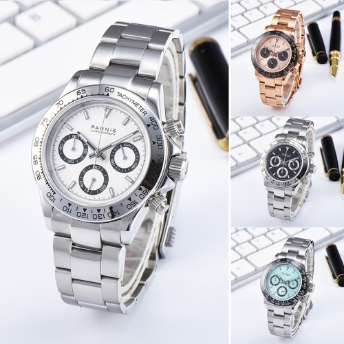 39mm Parnis Men Sport Chronograph Watch Quartz Movement Wristwatch 24-hours Dial