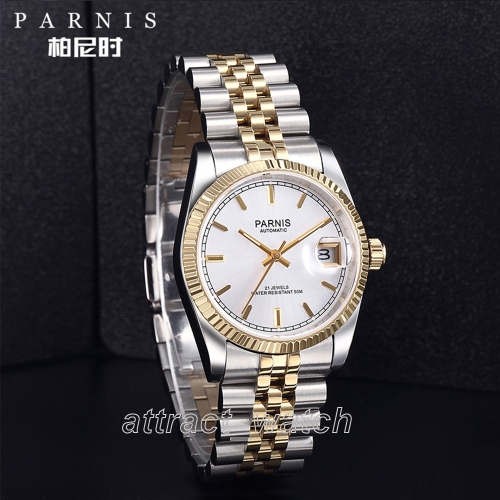 36mm Parnis Luminous Mark Japan Miyota Automatic Men's Wristwatch Stainless Bracelet