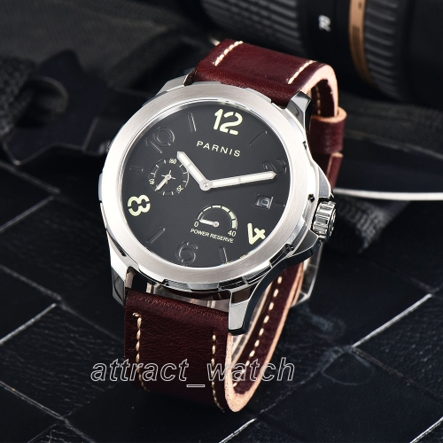 44mm Parnis Sapphire Glass Power Reserve Automatic Movement Men Mechanical Watch
