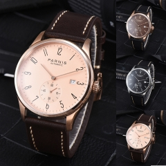 41.5mm Parnis Automatic Movement Men's Boys Guy Casual Wristwatch Leather Strap